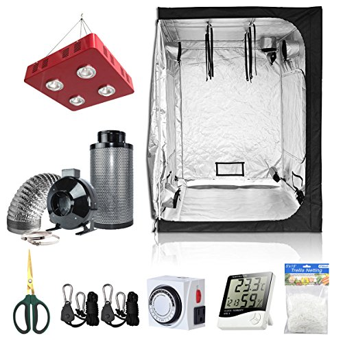 BloomGrow 60''x60''x80'' Grow Tent + 6'' Fan Filter Duct Combo + 800W LED Light + Hangers + Hygrometer + Shears + 24 Hour Timer + Trellis Netting Indoor Grow Tent Complete Kit