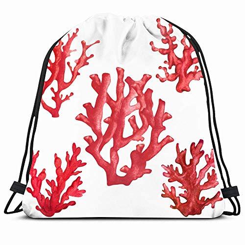 DHNKW Drawstring Backpack String Bag 14X16 Anemone Watercolor Red Corals Close Animals Wildlife Cacti Nature Plant Sponge Watercolour Adriatic Aquarium Sport Gym Sackpack Hiking Yoga Travel Beach