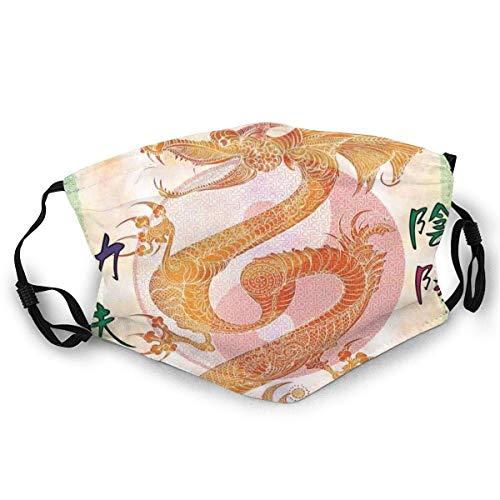 Gesichtsschutz Mundschutz Asiatischer chinesischer Drache mit Kampffiguren Japanischer Samurai Ying Yang Bild Skimütze Halsmanschette Kopfbedeckung