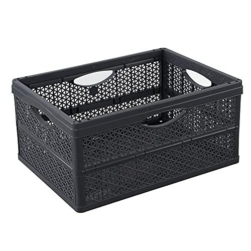BranQ - Home essential Caja plegable práctica y universal con una capacidad de 32 litros, de plástico sin BPA, color antracita