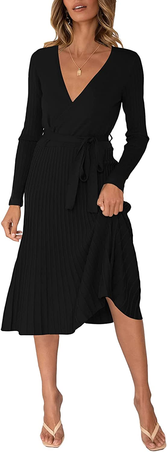 Linsery Women's Ribbed V Neck Long Sleeve Wrap Fitted Knit Pleated Maxi Dress