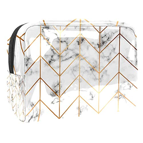 Trousse de toilette multifonction pour femme - Texture marbre - Lignes géométriques dorées
