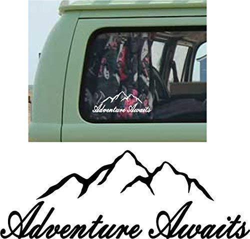 Online Design Mountains Voiture Autocollant Pare-Choc Vinyl Camping-Car Voyage Camping-Car Adventure Await