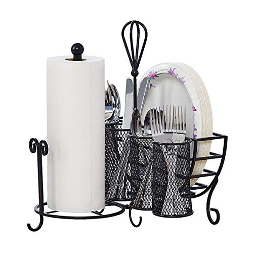 Gourmet Basics by Mikasa Avilla Picnic Plate Napkin and Flatware Storage Caddy with Paper Towel Holder, Antique Black