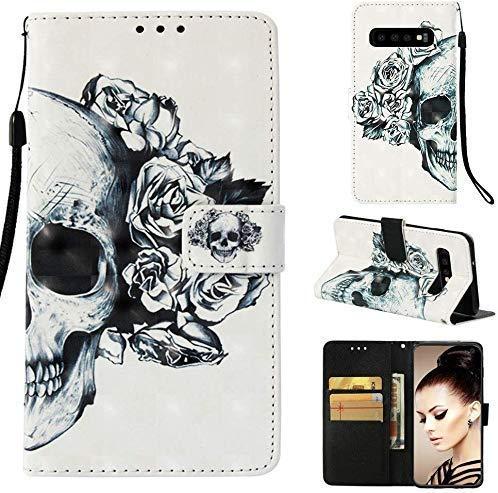 CoverKingz Handyhülle für Samsung Galaxy S10 - Handytasche mit Kartenfach Galaxy S10 Cover - Handy Hülle klappbar Motiv Totenkopf