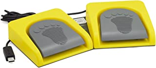 iKKEGOL USB Double 2 Foot Switch Control Pedal Video Game Customized PC Keyboard Multimedia Key Free Drive HID (Yellow)
