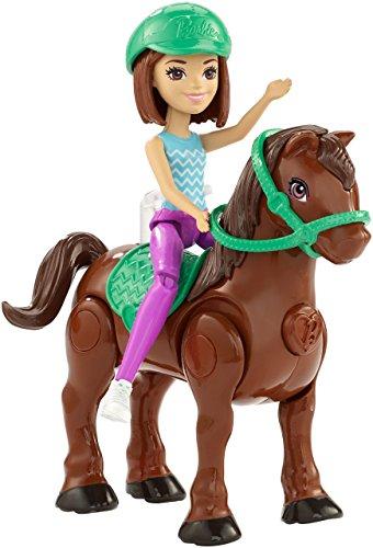 Barbie FHV62 On The Go Puppe (brünett) & braunes Mini Pony mit grünem Sattel