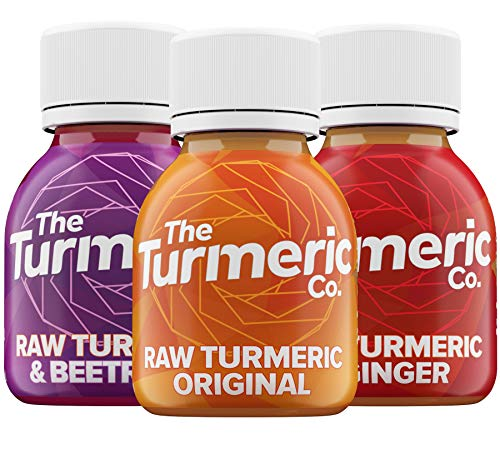 The Turmeric Co - Turmeric with Black Pepper, Turmeric and Ginger Shots, Turmeric + Beetroot Fresh Shots, Box of 7, High Strength - 3 Different Flavours to Try - Vegan - Supplements Made in UK