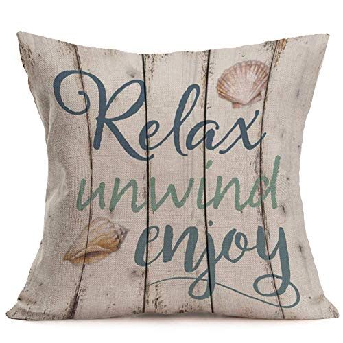SmilyardRetroWood Grain Throw Pillow Covers Quote Relax Unwind Enjoy Decorative Pillow Case Cotton Linen Shell Pattern Pillow Covers Decor Coastal Country for Home Sofa 18x18 Inch (WQ 05)