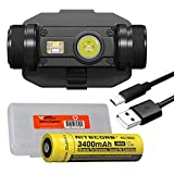 Nitecore HC65M 1000 Lumen NVG Mountable USB Rechargeable Tactical Helmet Headlamp with Red Light and LumenTac Battery Organizer