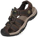 Flarut Sandalias Deportivas Hombres Verano Exterior Senderismo Zapatos Trekking Casual Zapatos de Montaña Cuero Sandalias de Playa