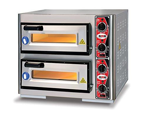 GMG Profi Pizzaofen CLASSIC PF 4040 DE4 für Gastronomie, 2 Backkammern / Doppelkammer dual - 1 +1 x Ø 39 cm Pizzen - 40x40x10cm, bis zu 450°C, 7000 Watt