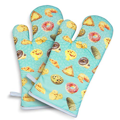 Oven Mitts 500°F Heat Resistant Non Slip Silicone Oven Gloves with Terrycloth Lining Silicone Oven Mitts Sets for Kitchen for Baking Grilling Cooking 2 Pack Blue