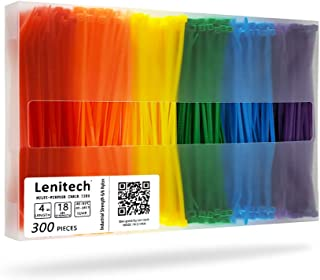 Lenitech 4 Inch 300 Pcs Multi-Purpose Cable Ties, Assorted Colored