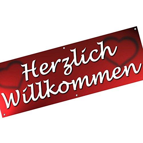 KDS Herzlich Willkommen Spannbanner Banner Werbebanner 200 x 70 cm 510g PVC Plane Plakat