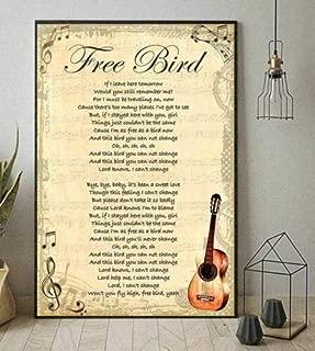 Lynyrd Skynyrd Free Bird Lyrics Guitar Vertical Poster Without Frame (11 X 17)