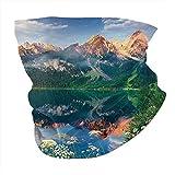 Q&SZ Sweatshirt Outdoor Headband Sunny Summer Morning On The Lake Austrian Alps Crystal Mirroring Water Fairy Season Photo Multi Scarf Neck Gaiter Face Bandana Scarf Head Scarf