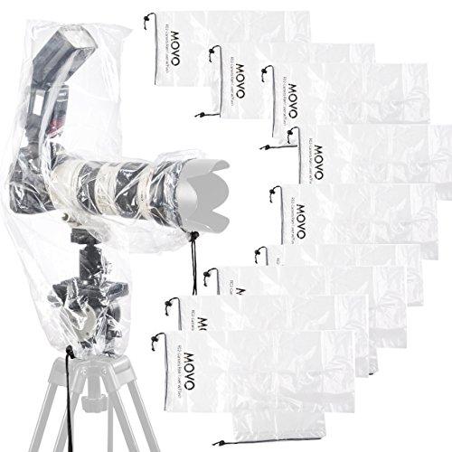 Movo RC2 (Confezione da 10) coperture Antipioggia Trasparenti per Fotocamere DSLR, Flash e obiettivi con Lunghezza Fino a 46cm