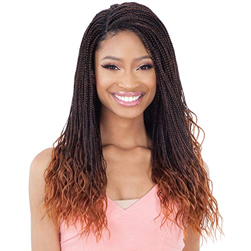 "Freetress Equal Synthetic Braided Lace Front Wig - MICRO GORGEOUS BRAID 22"" (1B Off Black)"