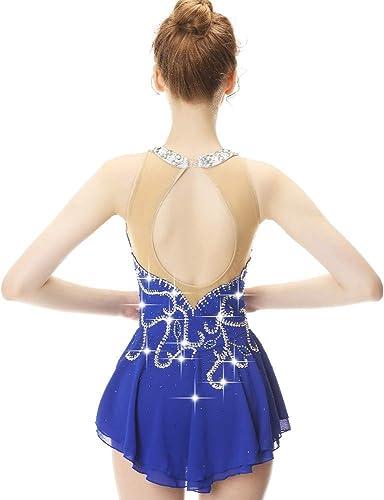 DILIKEXUE Eiskunstlaufkleid für mädchen Frauen Eislaufen Wettbewerb Performance Kostüm Tanzkostüm Kleid Professionelle Stretch Atmungsaktiv,M