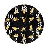 GOSMAO 25cm (9.8') Redondo Reloj de Pared Silencioso No Tick Tack Ruido Reloj de Pared Patrón de Dibujos Animados de saxofón