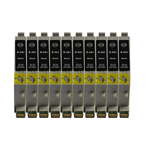 3color 10 cartuchos de tinta negra con chip para Epson Stylus C64 C66 C66N C66WFI C84 C84N C84WFI C86N C86WFI CX1500 CX3500 CX3600 CX3650 CX6400 CX6600 (10 unidades), color negro