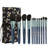 NINI MANINI MA - Juego de 12 brochas de maquillaje con impresión de lino para regalo de Navidad, Azul, 5.0[set de ]