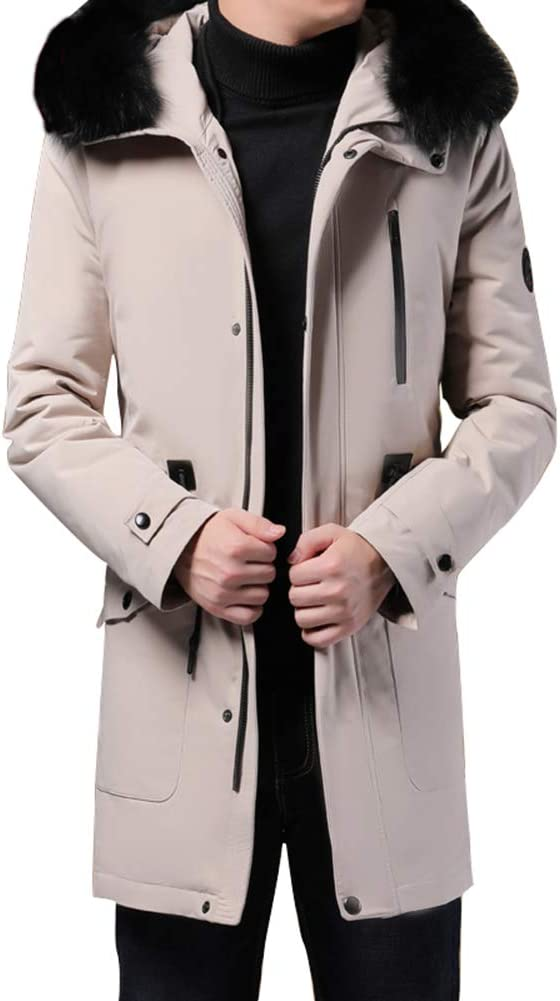 Down jacket Men's Medium Long, Middle-Aged Hooded Thicken Warm Jacket with Fur Collar Winter Clothing, Filling: 90% White Duck Down (M, L, XL, 2XL, 3XL)