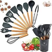 cozywind set di utensili da cucina in silicone 12 pezzi utensili cucina con supporto set di spatole da cucina resistente al calore antiaderenti professionali utensili cucina silicone set (grigio)