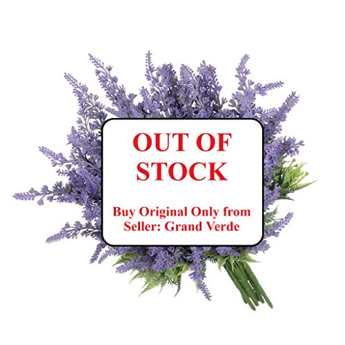 Grand Verde Lavender 8 PCS Set Purple Artificial Flowers Faux Plants Real Touch Plastic Bouquets Fake Shrub - Outdoor Farmhouse Gift DIY Garden Patio Balcony Wedding Party French Provence Home Decor