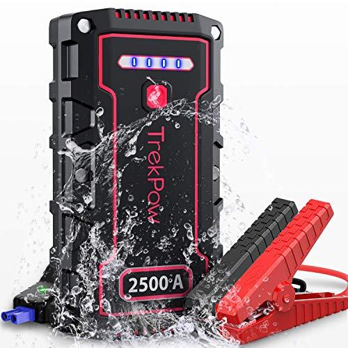 Arrancador de Batería de Coche, 2500A 18000mAh Arrancador de Coches IP68 (para Motores 12 V diésel 8 L y Gasolina 9 L), Cargador con USB QC 3.0, Linterna LED Jump Starter