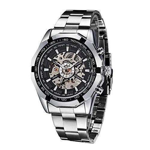 WINNER Semi Automatik Mechanische Uhr Skelett See Through Dial Handaufzug Top Herren Armbanduhr