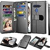 LG V40 ThinQ Wallet Case, LG V40 Case, LG V40 Storm Case, Njjex [9 Card Slots] PU Leather ID Credit Folio Flip [Detachable][Kickstand] Magnetic Phone Cover & Wrist Strap for LG V40 2018 [Black]