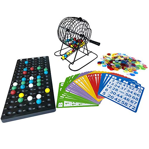 Complete Bingo Game Set-6 Inch Metal Cage with Calling Board, 75 Colored Balls, 300 Colorful Bingo Chips,50 5 Color Mix Bingo Cards for Large Group Games