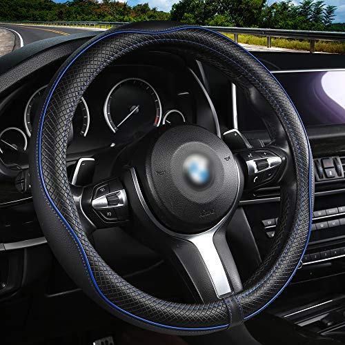 Aierxuan Microfiber Leather Steering Wheel Covers.Universal Fit 15 Inch Car Wheel Protector- Breathable, Anti Slip, Odorless(Black-Blue)