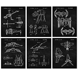 Vintage Star Wars Vessels Patent Poster Prints, Set of 6 Photos (8x10) Unframed Photos, Wall Art Decor Gifts Under 20 for Home, Office, Man Cave, College Student, Teacher, Comic-Con & Movies Fan