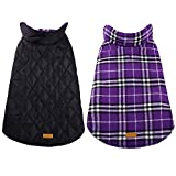 Kuoser Cozy Waterproof Windproof Reversible British Style Plaid Dog Vest Winter Coat Warm Dog Apparel for Cold Weather Dog Jacket for Small Medium Large Dogs with Furry Collar (XXS - 4XL) Purple S
