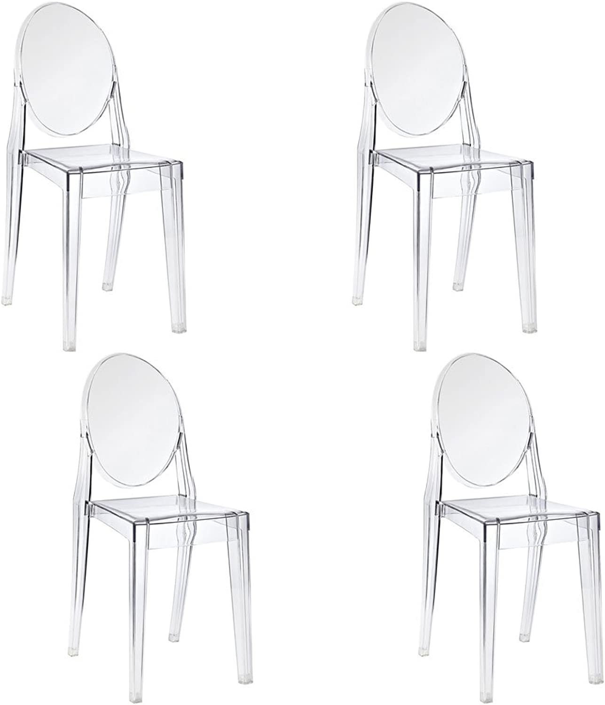 4PCS Starck Stil Stuhl Victoria Ghost Esszimmerstuhl, transparent,