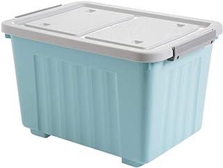 有盖收纳箱塑料大号箱子储物箱学生宿舍衣服收纳盒整理箱大号45X32.5X28.6cm浅蓝