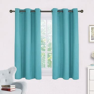 NICETOWN Thermal Insulated Curtains Blackout Draperies, Window Treatment Solid Grommet Room Darkening Drape Panels for Bedroom (Set of 2 Panels,42 by 45 Inch Long,Turquoise Blue)