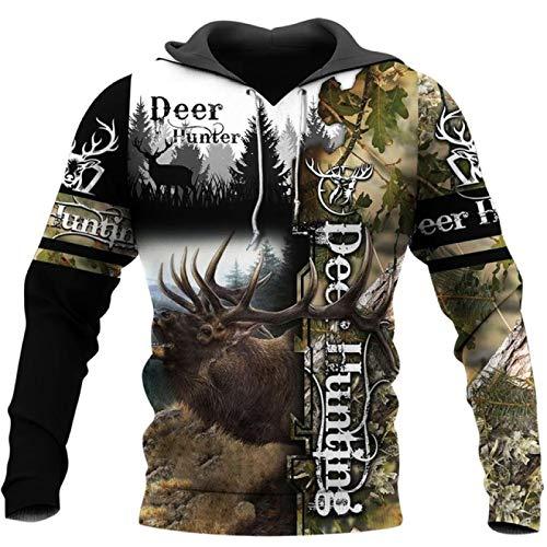 YSSDEH Sudaderas con Capucha para Hombre Deer Hunting Camo 3D All Over Printed Mens Hoodie Moda Sudadera Unisex Chaqueta Informal Jersey para Hombre