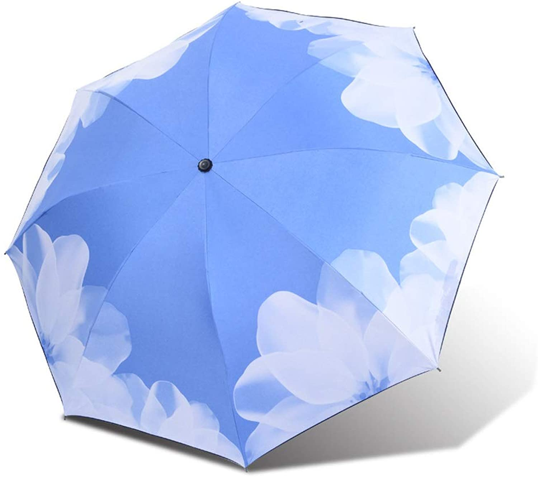 Umbrella Windproof Travel Compact Folding Sun Block Rain Guard UV Predection (color   02blueee, Size   Free)