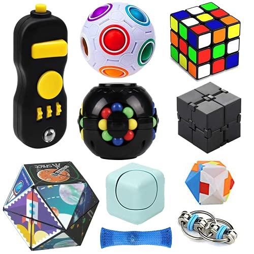 SweFuncy Fidget Toy Set 10 Pack, Magic Cube Fidget Rings Infinity Cube Fidget Pad Flippy Chain, Handheld Toys for Sensory Kids & Adults