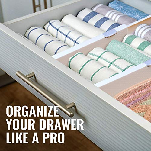 Rapturous 4 Pack Drawer Dividers – 5 Inch High and Expandable from 13-22 Inches, Dresser Drawer Organizers – Adjustable Drawer Organization Separators for Kitchen, Bedroom, Bathroom and Office Drawers