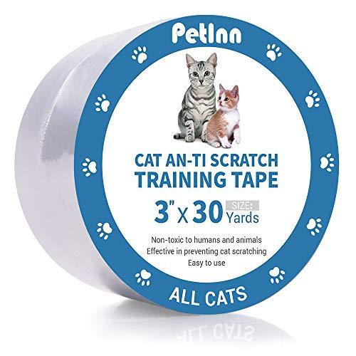 PetInn Anti-Scratch Cat Training Tape, 100% Transparent Clear Cat Scratch Deterrent Tape, Furniture Protector for Couch, Carpet, Doors, 3 Inches x 30 Yards