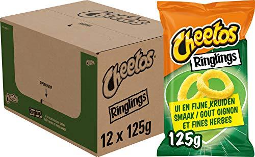 Cheetos Ringlings Ui en Fijne Kruiden, Doos 12 stuks x 125 g