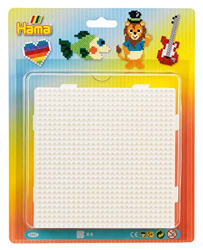 Hama Perlen 4581 Große Stiftplatten 4er Set für Midi Bügelperlen mit Durchmesser 5 mm, Quadrate zum Verbinden in weiß, kreativer Bastelspaß für Groß und Klein