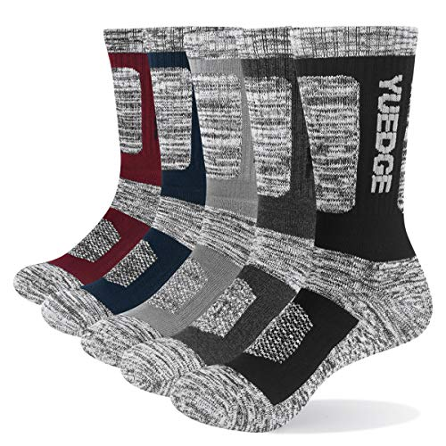 YUEDGE Men's 5Pairs/Pack Performance Cotton Moisture Wicking Sports Hiking Workout Training Cushion Crew Socks Size 9-12