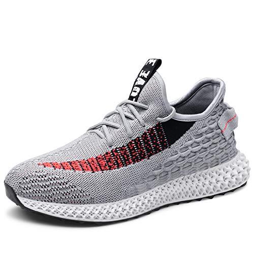 Straßenlaufschuhe Herren Damen Laufschuhe Fitness Turnschuhe Sneakers Air Sportschuhe Running Shoes(2 Grau, 43EU)