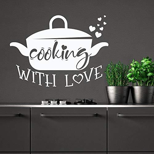 WERWN Cocinando con Amor calcomanía de Pared Olla Cocina Cita Puertas y Ventanas Pegatinas de Vinilo Restaurante Interior Arte Decorativo Letras Papel Tapiz
